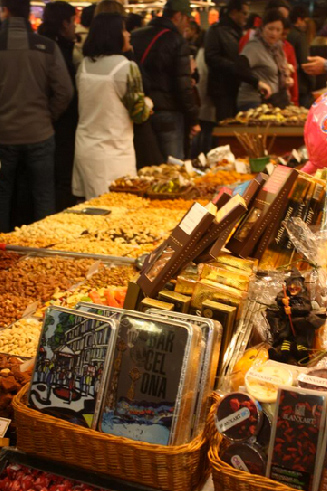 One of the street markets in Barcelona