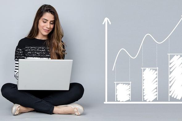 female entrepreneur doing research