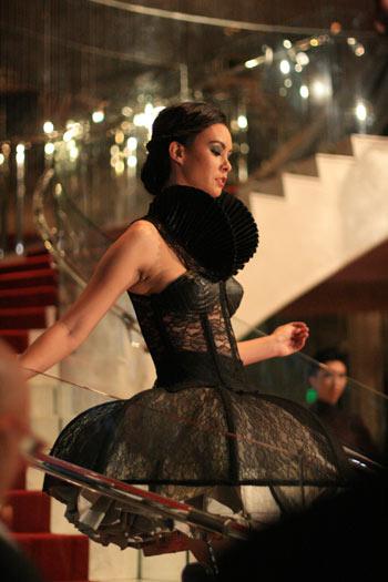 black corset lace dress