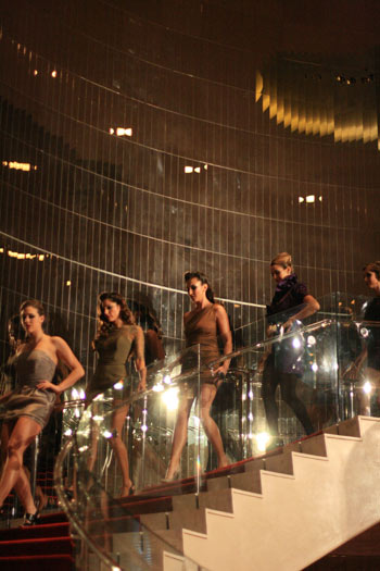 models on the runway stairs