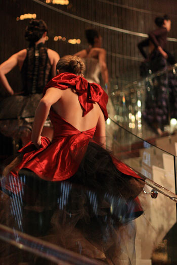 fashion show: red gown