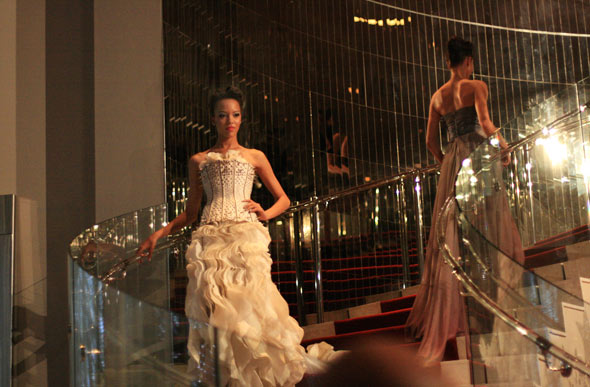 fashion show at the w: white corset gown