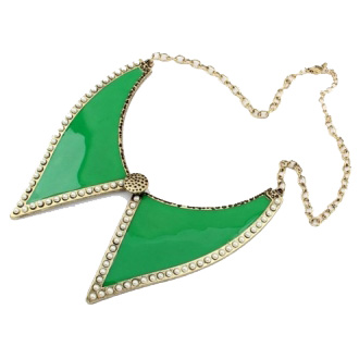 green collar necklace by anna jeffrey