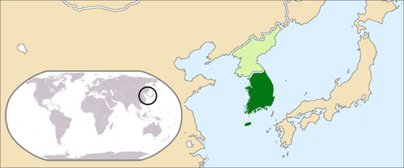 map of korea and surrounding countries