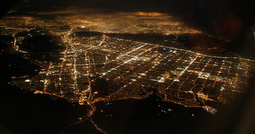 aerial view of san fernando valley