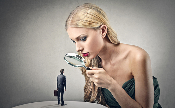 man under the microscope by a perfectionist woman