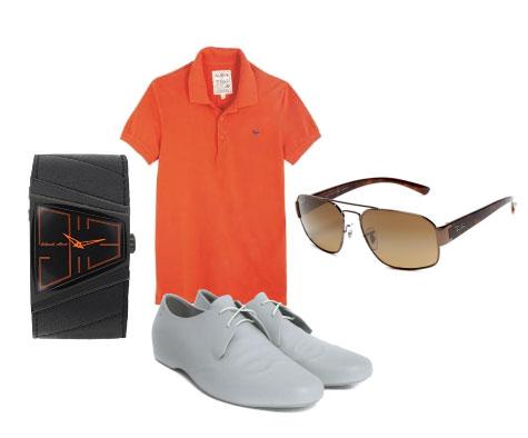 men's spring orange outfit