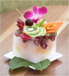 Tropical Fruit Ice Box -- tropical fruit and sorbet encased in ice